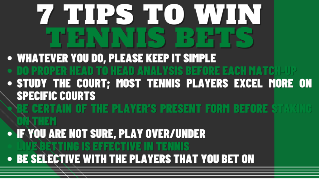 7 Tips to Win Tennis Bets